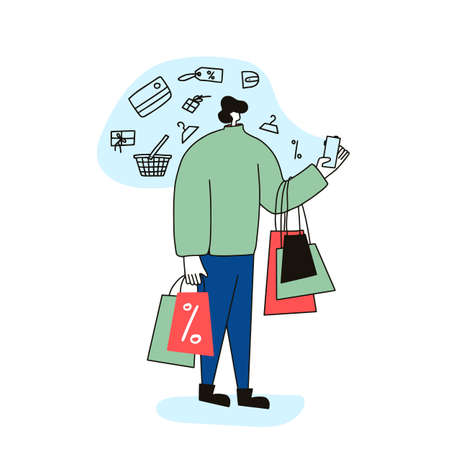 Male character with shopping bags isolated on white background. Sale concept. Man dressed in casual clothes standing and using his phone fo find a good deals and ordering a gifts. Vector illustration.