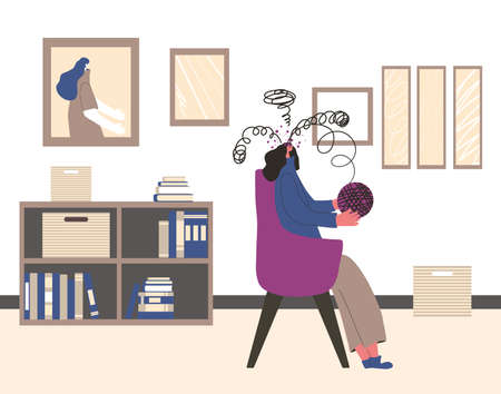 Woman try to untangle ball of thread of in her mind. Female character try to help herself with some mental issues. Girl self-reflecting on the causes and consequences of her actions. Vector illustration.