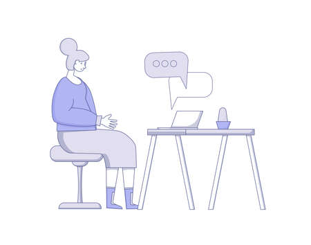 Video call. Interview online. Senior woman sitting on laptop and talking with her family isolated on white background. Vecotor flat illustration. Ilustrace