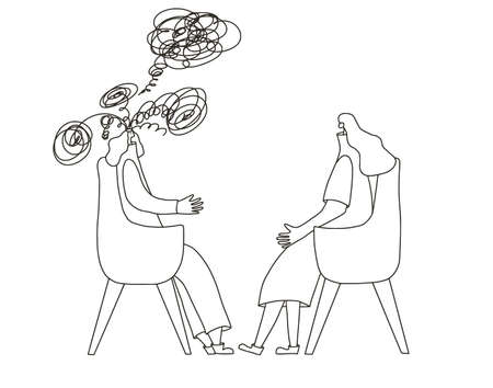 Psychologist having session with her patient. Counseling therapy. Female character try to help woman with obsessive thoughts. Psychotherapy concept. Vector illustration.