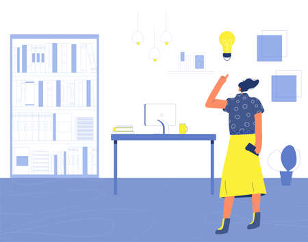 Woman have an idea. Self employed character standing in her room. Freelancer working at home. Vector flat illustration.