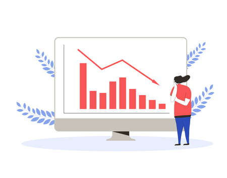 Stock market crash. Invest in the bonds company's bonds fail. currency trader. Sad woman with graphic of stocks plummeting on computer screen. Collapsing prices. Global recession. Vector flat illustration.