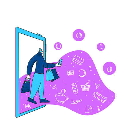 Online shopping. Male character with shopping bags going to home after clearance. Young man dressed in casual trendy clothes with huge phone screen. Sale concept. Vector illustration.
