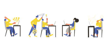 Office job collection. Characters working on computer set isolated on white background. Persons using laptop. Clerks lifestyle. Vector flat color illustration. Ilustrace