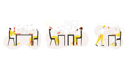 Office lifestyle problem collection. Characters working on computer set isolated on white background. Persons using laptop. Clerks lifestyle. Vector flat color illustration.