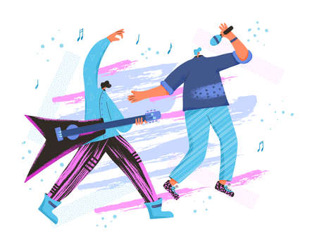 Music band performing emblem. Two rock musicians singing and plauering guitar. Pop duet. Vector flat characters illustration.