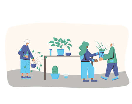 Indoor plants lovers club. Persons wearing in casual clothes holding in hands potted flower going to watering. People with houseplants. Vector color flat illustration. Ilustrace