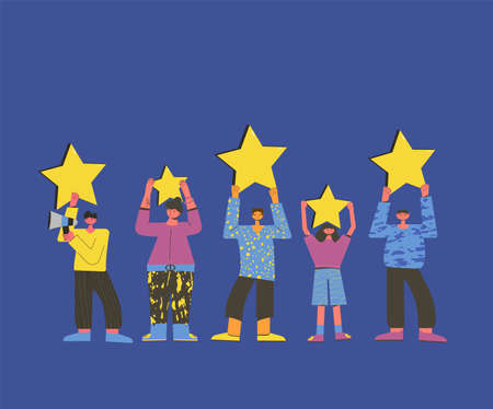 Feedback concept. Client review. Five characters holding stars in their hands. Service rating. Satisfaction level. Consumer product review Vector flat illustration. Ilustrace