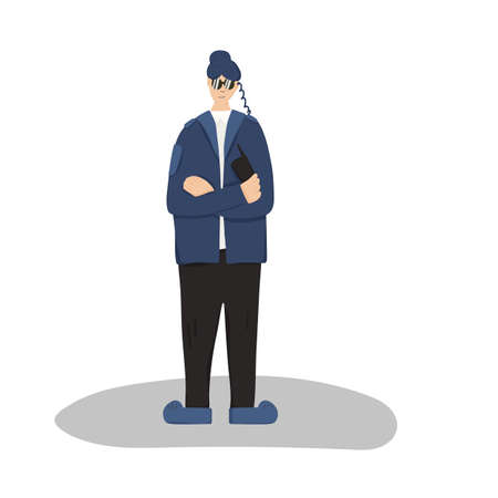 Female security guard standing with arms crossed. Woman wearing in a guards uniform and sun glasses isolated on white background. Vector illustration. Ilustrace