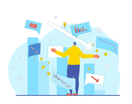 Invest in the bonds company's bonds fail. Inexperienced minor shareholder. Stock market crash. Frustrated man standing surrounded investment graph. Collapsing stock prices. Vector flat illustration.