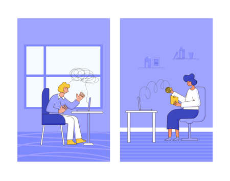 Online counseling. Psychologist having internet therapy session with stressed patient. Couch listening sad man. Vecotor flat illustration.