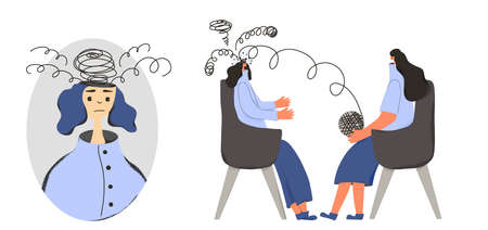 Psychologist having session with her patient. Counseling therapy. Female character with some mental issues. Psychotherapy concept. Woman talking to therapist. Vector flat illustration. Ilustrace