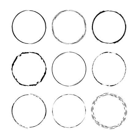 Set of black round grunge frames. Geometric empty borders collection. Vector illustration.
