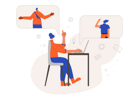 Woman participates in online meeting at home office. Freelancer sitting in her room and talking about tasks with her coworkers. Female person have a distant business meeting in quarantine. Vector flat