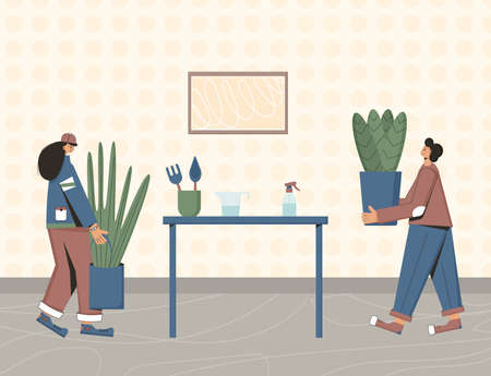 Indoor plants lovers. Person wearing in casual clothes holding in hands potted flower. People with houseplants. Vector color flat illustration.