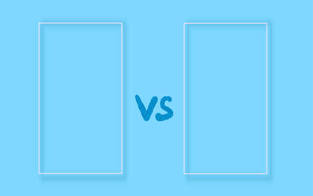 Versus sign with copy space. VS screen. Decorative battle cover with lettering. Template for banner for competition. Vector illustration.