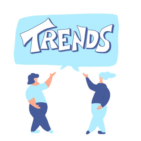Trend emblem. Hand drawn lettering with female characters. Vector illustration.