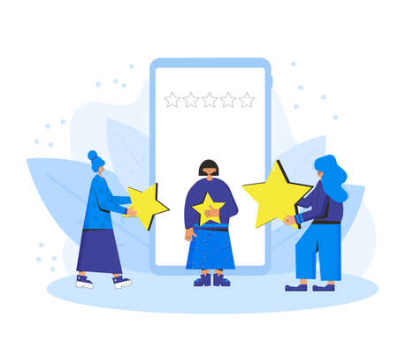 App feedback concept. Clients giving a good grade. Three female characters standing near huge phone and holding stars in their hands. Service rating. Consumer product review Vector flat illustration.