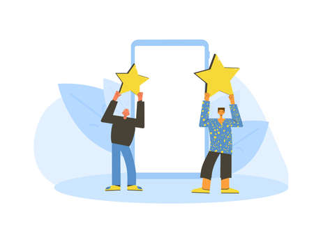 Feedback concept. Client review. Senior and young men holding stars in their hands with phone screen. Service rating. Satisfaction level. Consumer product review Vector flat illustration. Ilustrace