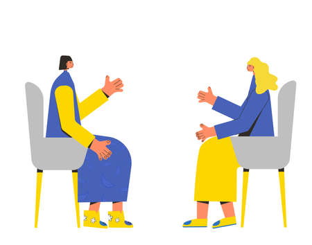 Psychotherapy. Counseling. Female patient with psychologist sitting and talking about depression, family problems, Professional support. Couch session. Mental health. Vector flat illustration. Ilustrace