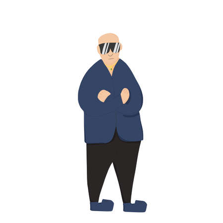 Security guard standing with arms crossed. Man wearing in a guards uniform and sun glasses isolated on white background. Vector illustration.