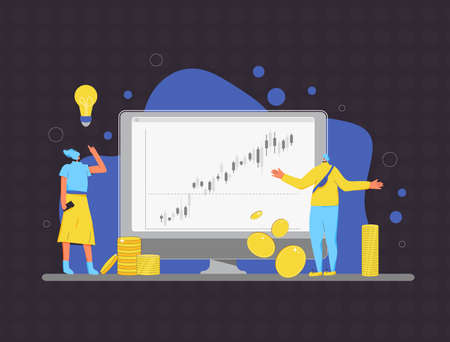 Family invest. Married couple going to be minor shareholders. Woman have a investment idea and man reading a reporton computer screen. People with huge coins, graph. Vector illustration. Ilustrace