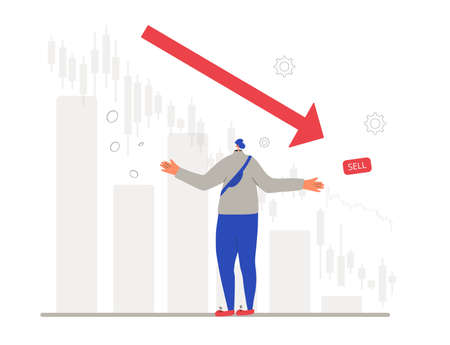 Invest in the bonds company's bonds fail. Inexperienced minor shareholder. Stock market crash. Frustrated young man standing surrounded investment graph. Collapsing stock prices. Vector flat illustration.