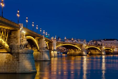 triplet: Beautiful Margaret Bridge and Danube River, Budapest, Hungary