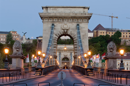 the chain bridge: Early morning shot in the heart of Budapest. Chain Bridge and Buda Castle Stock Photo