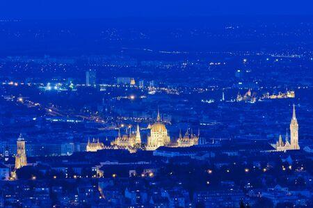 matthias church: Skyline of Budapest with Matthias Church and Parliament
