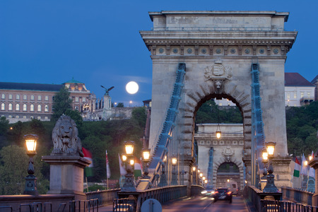 the chain bridge: Early morning shot of Chain Bridge and Buda Castle at full moon
