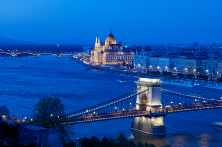 the chain bridge: Famous landmarks of Budapest Chain Bridge and Building Parliamental Stock Photo
