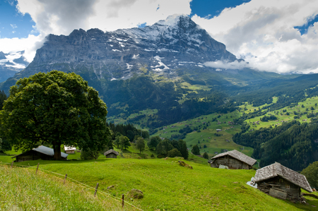 eiger: Mount Eiger, Swiss Alps - snow capped mountains and deep valleys, stunning view, breath-taking panorama