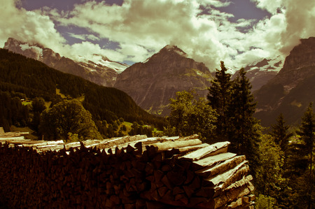 monch: Swiss Alps - snow capped mountains and deep valleys, stunning view, breath-taking panorama