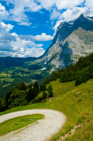 monch: Wetterhorn, Swiss Alps - snow capped mountains and deep valleys, stunning view, breath-taking panorama