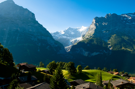jungfraujoch: Swiss Alps - snow capped mountains and deep valleys, stunning view, breath-taking panorama