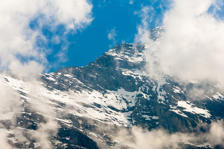 monch: Mount Eiger, Swiss Alps - snow capped mountains and deep valleys, stunning view, breath-taking panorama
