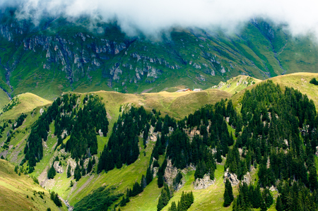 monch: Bach Alp, Swiss Alps - high mountains and deep valleys, stunning view, breathtaking panorama