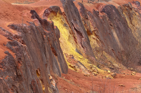 Bauxite mine, raw weathered bauxite sedimentary rock on surface