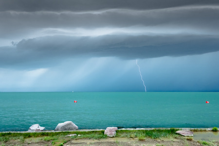 Before summer storm at a turquoise lake