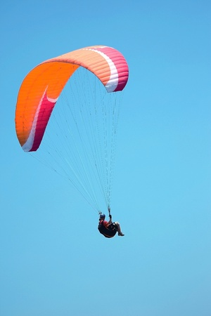 Paragliders fly photo