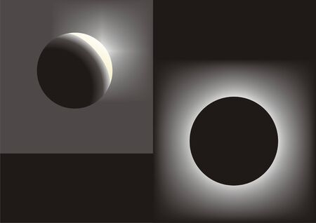 A full Moon And Sun Eclipse Vector