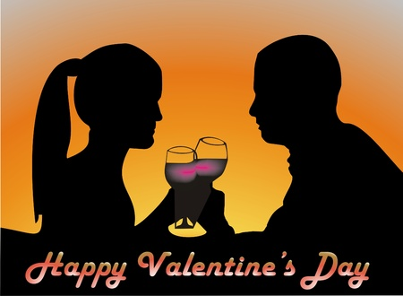 Young couple on valentines day Vector