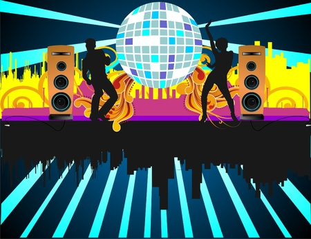 discoball: Party people with buildings in background and different colors Illustration