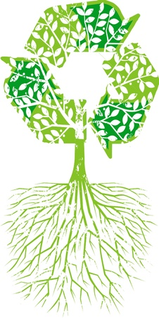 environmental awareness: Illustration of recycle tree on white background Illustration