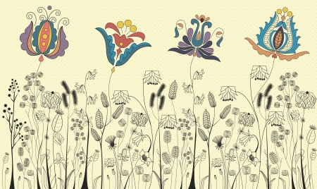 folk art: Traditional flowers and herbs