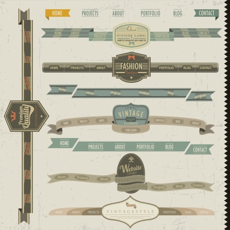 homepage: Retro vintage style website headers and navigation elements Illustration