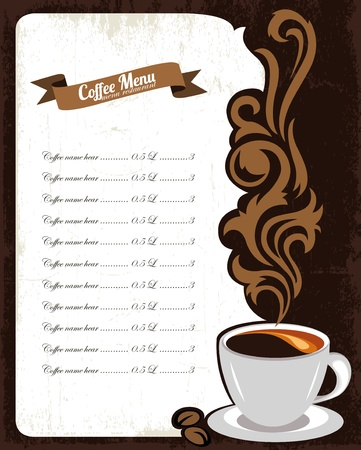 coffee background: Concept of coffee menu illustration  Illustration