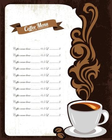 menu de postres: Concepto de ilustraci�n caf� men� Vectores