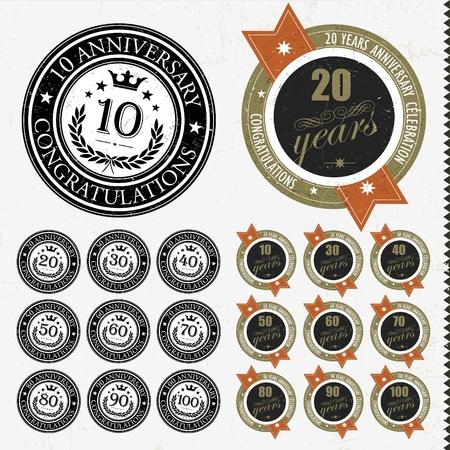 90 years: Anniversario segni e giubileo e le schede di progettazione, illustrazione Retro